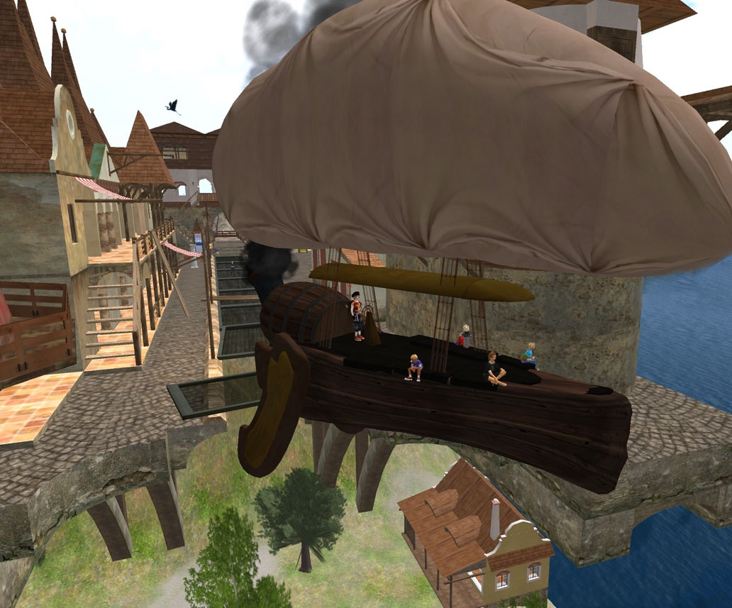 Icarus Class Airship MK3 taking the Goonies on a flight over i cliff top town.