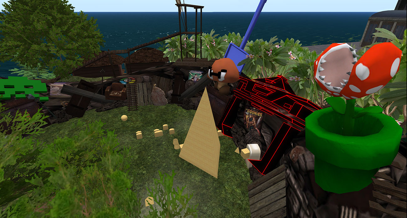The junk yard on Escapades is a specific place for people to practice building, but usually ends up a mountain of prims.