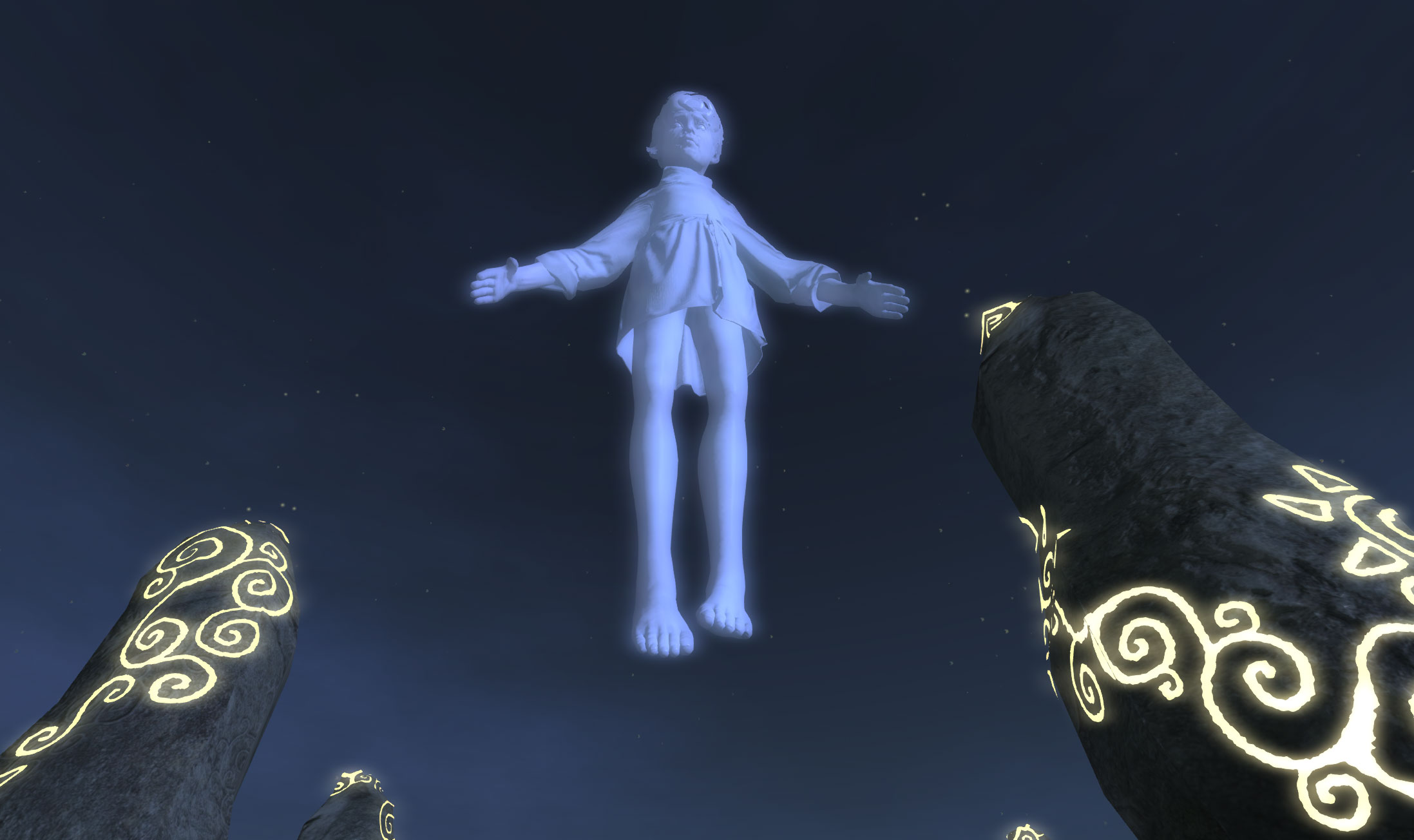 A Giant apparition of the Grey Prince appears high above the gathered crowd